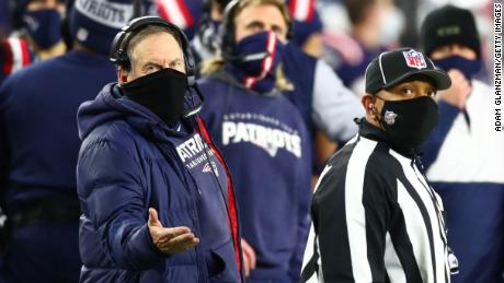 Belichick reacts towards the referee during the second half against the Buffalo Bills.