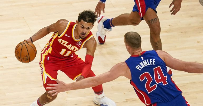 Hawks down the Pistons 128-120, improving to 3-0