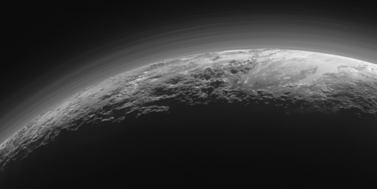 Pluto's atmosphere is somewhat foggy.