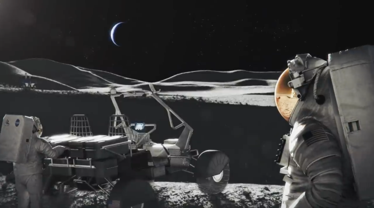 Astronauts, next to the lunar module, on a stark lunar surface, and the earth is in the sky.