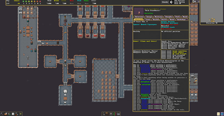 A screenshot showing a complex user interface in the new Steam version of Dwarf Fortress.