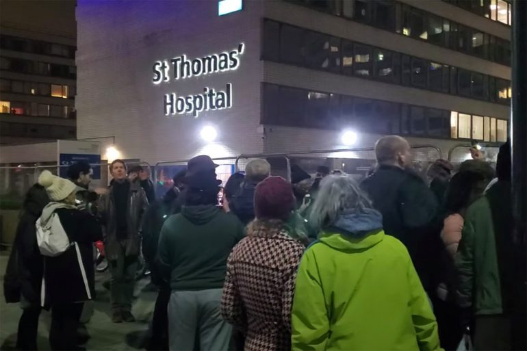 "The doctor films crowds chanting ""COVID is a hoax"" outside the hospital"